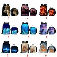 Wolf Horse Fish School Bag Girls Backpack Kids Lunch Tote Women Laptop Rucksack