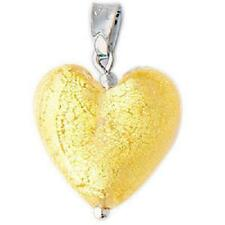 Clear With Gold Leaf CUORE Matto Heart Pendant by ANTICA Murrina