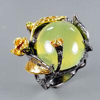 Prehnite Ring Silver 925 Sterling Fine Art23ct+ Size 8.5 /R128847