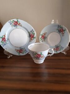 Colclough English Roses on Blue China Trio cup, saucer, tea plate. c40s. VGC