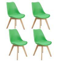 4er Grün Esszimmerstuhl aus Holz Beine Retro Kunstleder Esszimmer Wohnzimmer DSW