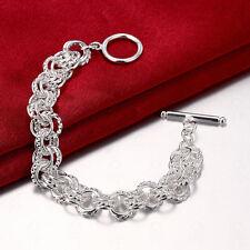 Fashion Silver Plated Men Women Charm Hand Chain Bracelets Bangle Jewelry