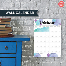 2020 Wall Planner. Large A3 Yearly Watercolour Wall Calendar. 1 month per page.