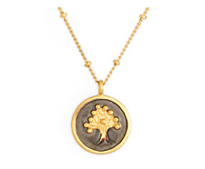 Satya Jewelry Women's Gold Black Tree of Life Necklace 1673