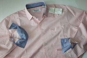 Tommy Bahama Shirt Newport Porcari Stripe Parisian Pink T323425 LS New Medium M