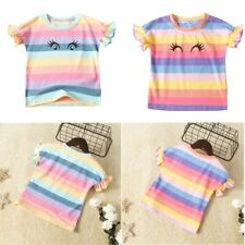 Kids Girls Fashionable T-Shirt Cotton Tops Print Lovely Pattern Summer Clothes