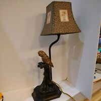 """Gold Tone Parrot/Cockatoo Table Lamp & Tropical Shade 21.5"""" High VTG Works EUC"""