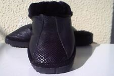 Black Handmade Leather - Mouton Sheepskin Lined Slippers