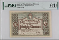 AUSTRIA 50 KRONEN VIENNA 1918 P NL CHOICE UNC PMG 64 EPQ