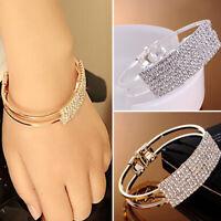 Wholesale Women Silver Crystal Rhinestone Bangle Bracelet Wedding Bridal Jewelry