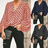 Fashion Women V-Neck Puff Sleeve Polka Dot Ruched Casual Blouse Shirt Tops