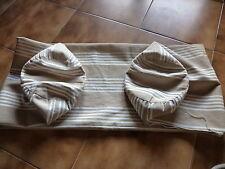 GRANDE TAIE TRAVERSIN/POLOCHON en TOILE MATELAS RAYURES beige 1m35 / 33,3cm