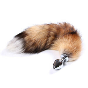 Romantic stainless steel plug artificial foxtail role playing couple game toys