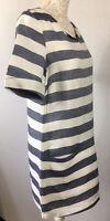 JOULES UK 12 ABINGTON Navy Blue & White Stripe Tunic Dress Pockets Short Sleeve