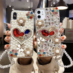 Bling Glitter Pearl Diamond Case Cover w/ Rope For iPhone 12 11 Pro XS Max 678+