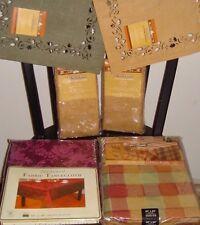 2 Tablecloths 60 × 84 Oblong Plaid Jacquard Sultan Linens 8 Napkins Placemat New