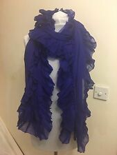 RALPH LAUREN COLLECTION PURPLE CASHMERE  PASHMINA PETTICOAT RUFFLE SCARF RP £830