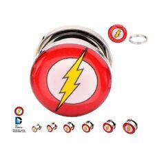Flash Logo Screw Fit Steel Plugs Plug 2G 2PR Licensed DC Comics