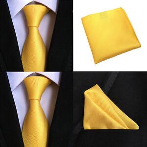 Men Yellow Stripe Silk Necktie Pocket Square Handkerchief Hanky Set Lot HZTIE099