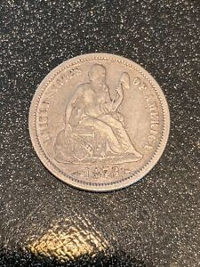 1873 With Arrows Silver Philadelphia Mint Seated Liberty Dime Almost XF