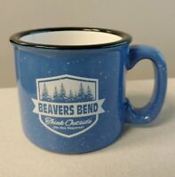 Beavers Bend Think Outside - Blue, White speckles Coffee Mug Cup MWare Stoneware