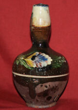 Antique Folk Hand Painted Glazed Redware Pottery Pitcher