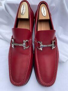 Salvatore Ferragamo Men's Red Leather Silver Horse-bit Loafer size 11
