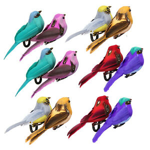 12pcs Color Feather Simulation Foam Birds Craft Garden Holiday Party Ornaments