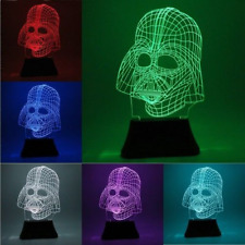 3D LED Star Wars Darth Vader Bulb Illusion Night Light Desk Table Lamp 7Color UK