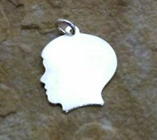 Sterling Silver Small Boy Head Silhouette Charm  with Free Engraving - 2187