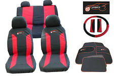 Mazda MX-3 MX-5 MX-6 Universal Car Seat Cover Set 15 Piece Sports Logo Red Black