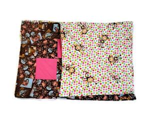 Handmade Baby Quilt Blanket Reversible Unique Multicolor Coffee Polka Dot Monkey
