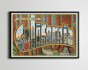 """CALIFORNIA """"Large Letter"""" Postcard POSTER! (up to 24"""" x 36"""") - Redwood - Sequoia"""
