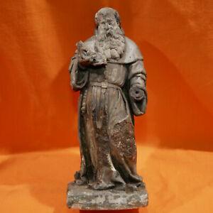 SCULPTURE HAUTE EPOQUE Statue en pierre XVe 1400 Saint Antoine Stone Steinstatue