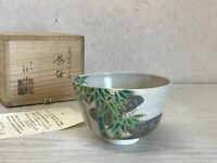 Y1915 CHAWAN Kyo-ware signed box Japanese bowl pottery Japan tea ceremony
