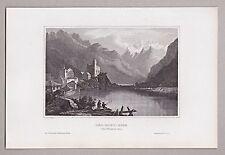 Schweiz, Ansicht von Visp/Vispach u. Monte-Rosa . Stich, Stahlstich um 1850