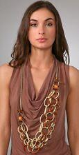 Lee Angel Beige Manuela Link Leather Brass Statement Necklace NWT $248