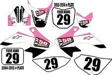 2004-2016 HONDA CRF 50 Graphics Kit Custom Number Plates Pink Stripe XR50.com