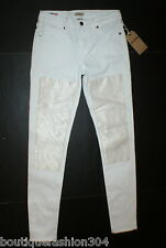 NWT New Womens True Religion USA Halle Jeans Skinny White Mid Designer Patch 29