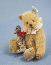 """Deb Canham """" Old Mattie Miniature Mohair Bear- With Calico Penquin- 3 3/4"""""""