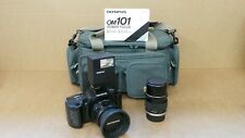 (Pa2) Olympus 1980 OM-101 Power Focus 35mm SLR Film Camera Body, Flash & x2 Lens