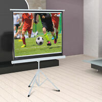 """84"""" Projection Screen 4:3 Home Cinema Foldable Adjustable Tripod Stand"""