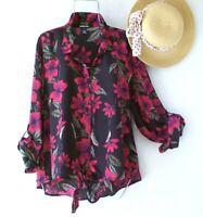 New~Black Red Leaf Green Floral Rose Blouse Shirt Boho Plus Size Top~1X XL