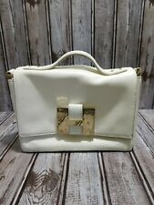 India Hicks White Leather Bag, Lady P. Gold Hardware, Shoulder Strap, Cross Body