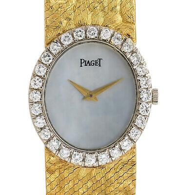 Piaget 9814 18k Oro Amarillo Esfera de Madreperla Reloj con Diamantes