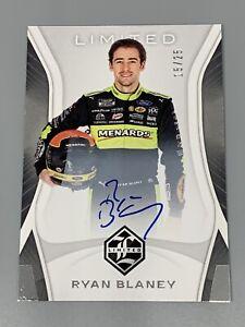 Ryan Blaney 2020 Panini Chronicles Racing NASCAR Limited /25 Purple Auto On Card