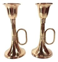 """Brass Horn Candle Holders Pair of Vintage 5.5"""" Trumpet Candlesticks for Tapers"""
