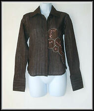Duck And Cover Women's Dark Brown Embroidered Blouse Shirt size UK 12  EUR 40