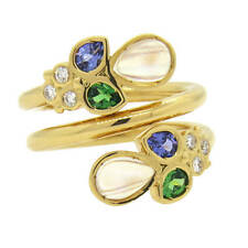 Temple St. Clair Anima 18k Gold Moonstone Diamond Tanzanite Tsavorite Wrap Ring