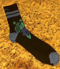 QUIKSILVER Mens Crew Socks HyperDry Performance Floral Blue Black L (6-12.5) New